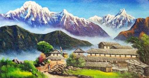 Nepali Village Painting