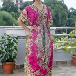 Satin Kaftan Full Length Dress