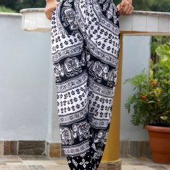 Janaki Cotton Black and White Trouser