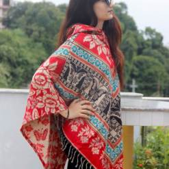Butterfly Printed Woolen Poncho