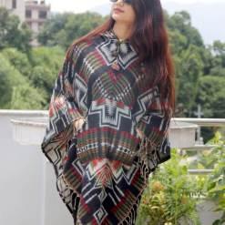 aztec print woolen poncho