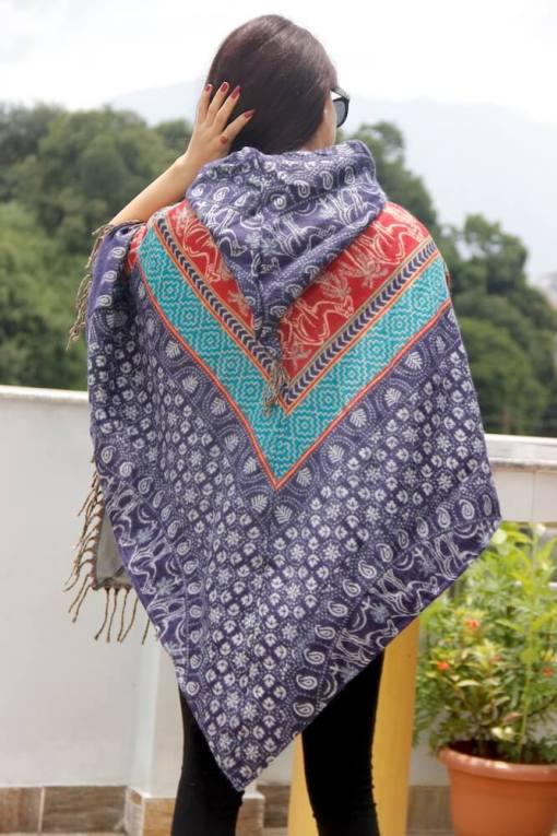 camel print woolen poncho