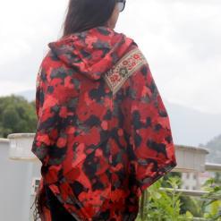 paisley pattern woolen poncho