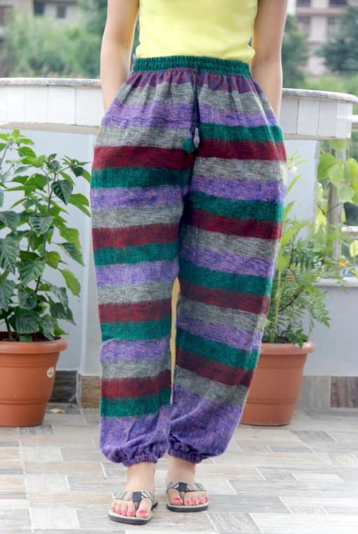 Stripe Harem Woolen Trouser