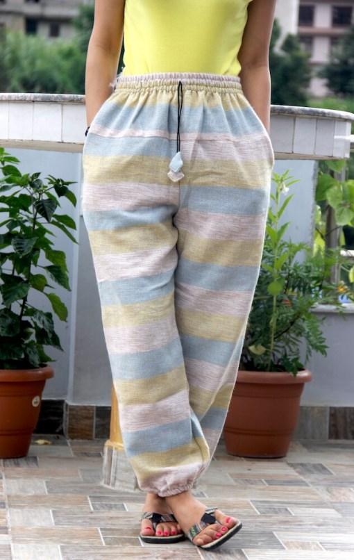 Off White Stripe Woolen Trouser