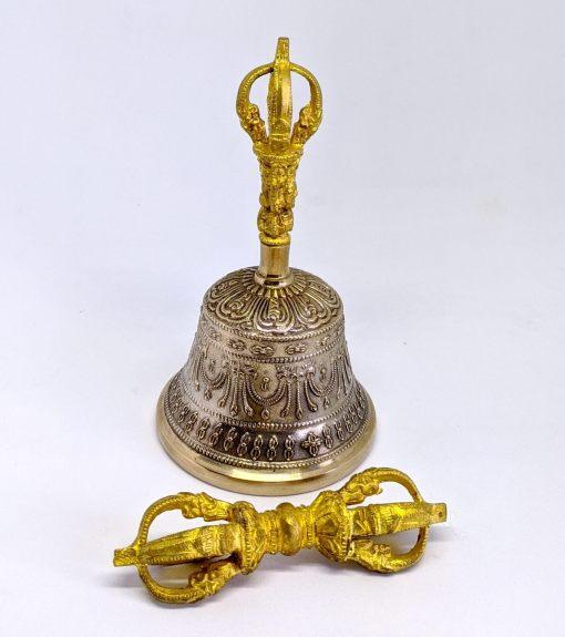 Double Dorje Carved Meditation Bell Set