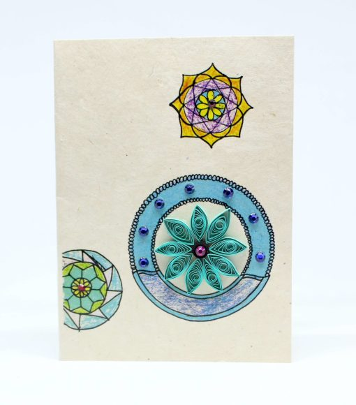 Mandala Quilling Lokta Greeting Card Turquoise Color