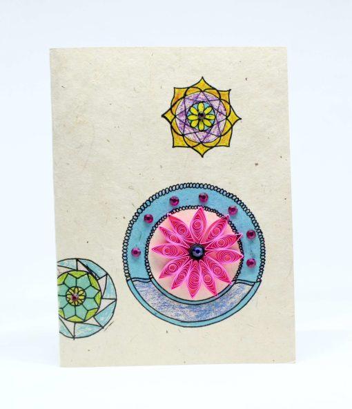 mandala quilling lokta card pink color