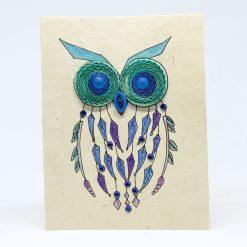 owl quilling lokta card