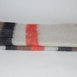 Yak Wool Shawl Stripe White Orange Color