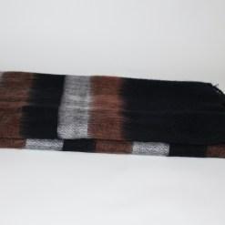 Yak Wool Shawl Stripe Brown Black Color