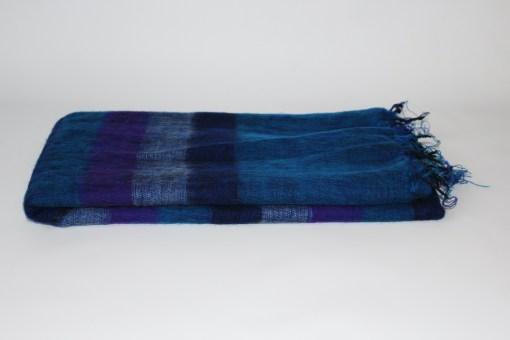 Yak Wool Shawl Stripe Purple Blue Color