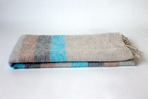 Yak Wool Shawl Stripe Beige Blue Color