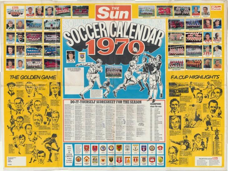 The Sun Souvenir Wall Chart Soccer Calendar 1970