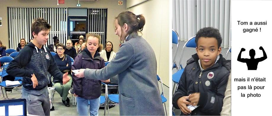 Mattéo, Rachel, Evaisson etJosaphat sont récompensés par Floriane (Tom était absent)
