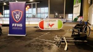 Luge de Hockey et fauteuil roulant avec en fond les visuels Fédération Française de Hockey sur glace et CDH 35