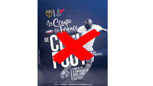 Une croix rouge barrant l'affiche de la Coupe de France de Cécifoot