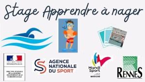 Stage j'apprends à nager: les logos des 4 partenaires et quelques illustrations de natation