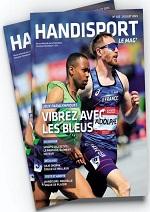"""Couverture du Mag """"Vibrez avec les bleus"""" montrant 2 athlètes en train de courir"""