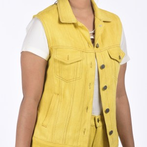 Eco-friendly Khadi Denim Sleeve-less Trucker Jacket Marigold Extract Fabric Dye