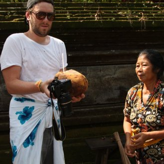 The Woman and The Coconut in Goa Gajah Temple, Bali, Indonesia (5)