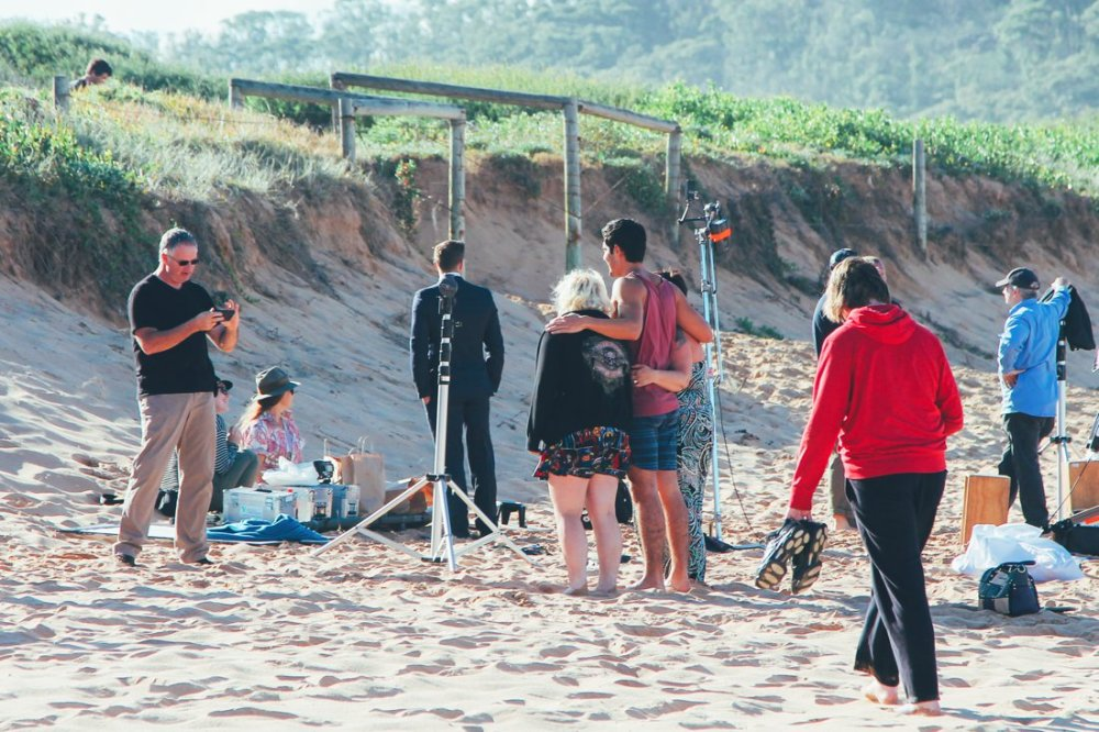 Home and Away Cast and crew on the beach in Palm Beach, Sydney, Australia (5)
