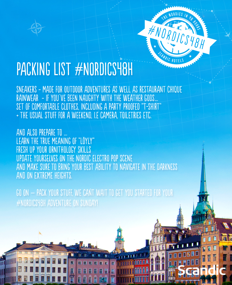 List to Pack For Nordics48h 48 Hours in the Nordics trip with Scandic Hotels
