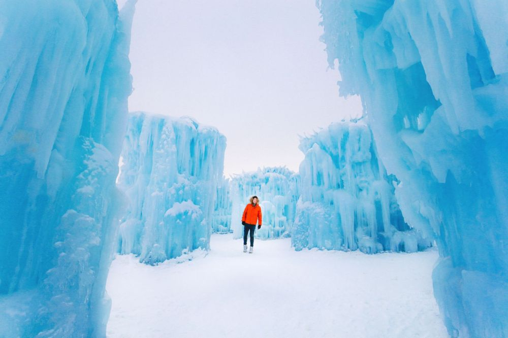 Fat Biking Across The Frozen River Valley To The Ice Castles Of Edmonton, Canada (41)