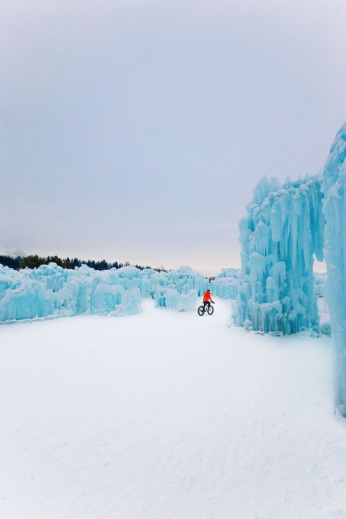 Fat Biking Across The Frozen River Valley To The Ice Castles Of Edmonton, Canada (64)