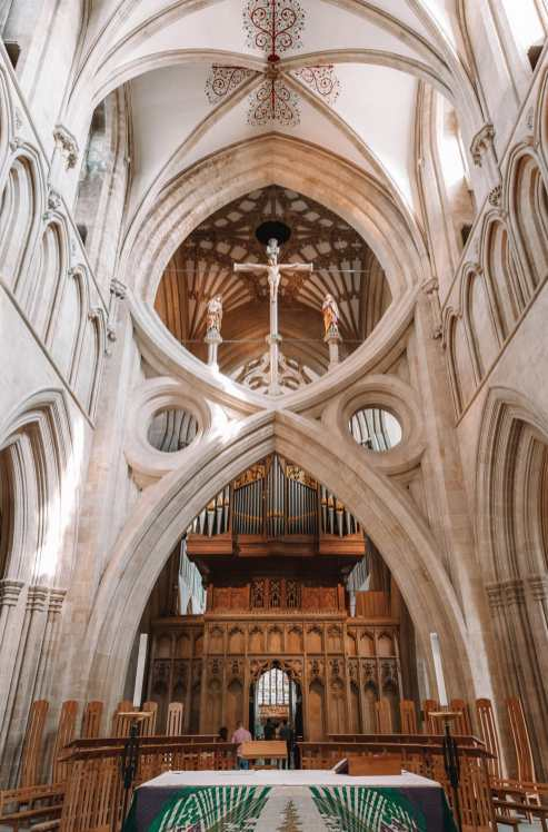 Inside cathedral in city of Wells