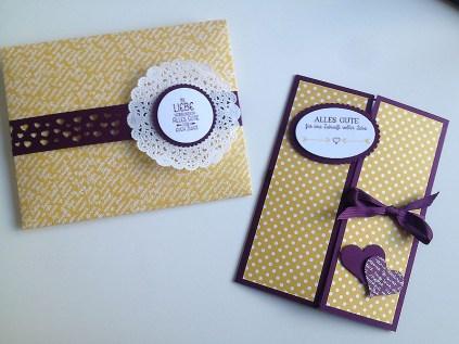 Hochzeitskarte gelb-violett