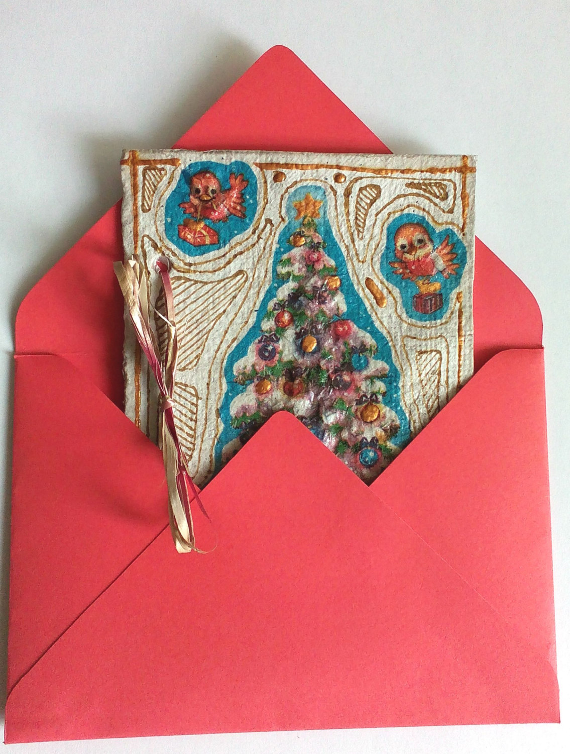 Unique Handmade Christmas card made from Handmade (recycled) paper