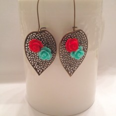 red turquoise leaf earrings