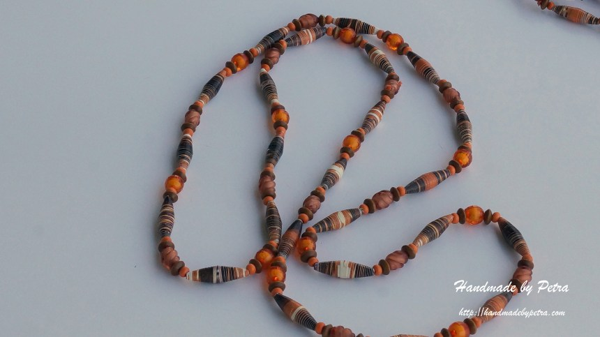 Orange necklace from paper beads