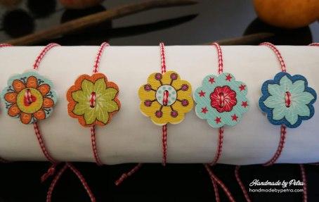 Мартеници за ръка с копче като шарено слънце - HandmadebyPetra