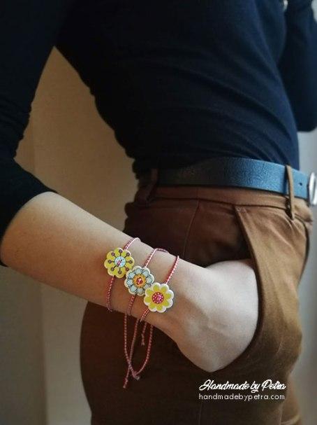 Мартеници за ръка с копче като шарено слънце - HandmadebyPetra.com