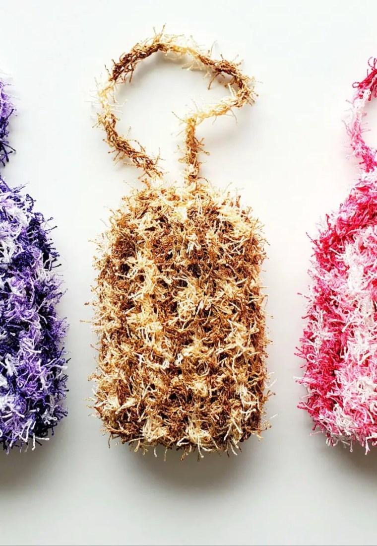 How to crochet exfoliating soap bag