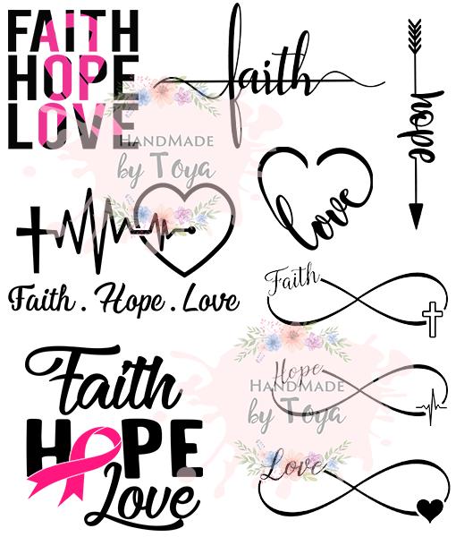 Faith Hope Love Bundle Svg Dxf Png Handmade By Toya