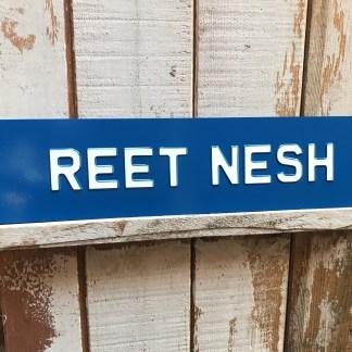 Reet Nesh Derbyshire Enamel Vintage Sign