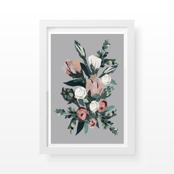 Pink Roses A4 Art Print Cushy Paws