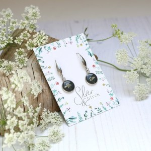 Handmade Grey Dangle Earrings with Real Pressed Flowers