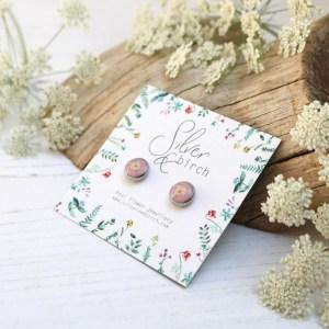 Pink Handmade Earrings Made in Real Flowers