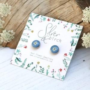 Silver and Birch Handmade Real Pressed Flower Stud Earrings in Sky Blue