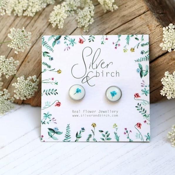 Teal On White Real Flower Earrings Handmade