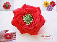 brosa martisor floare rosie
