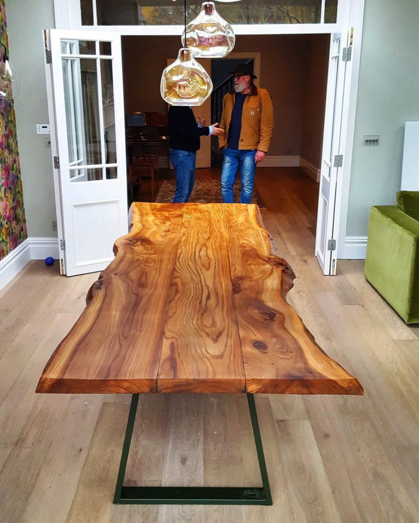 English Elm live-edge dining table, Putney London