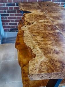 Burr Oak live-edge dining table, Hertfordshire