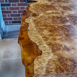 Burr Oak live-edge dining table, Hertfordshire