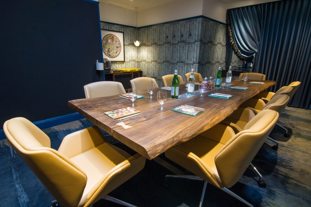 Live-edge two slab English Walnut meeting table, Kensington London