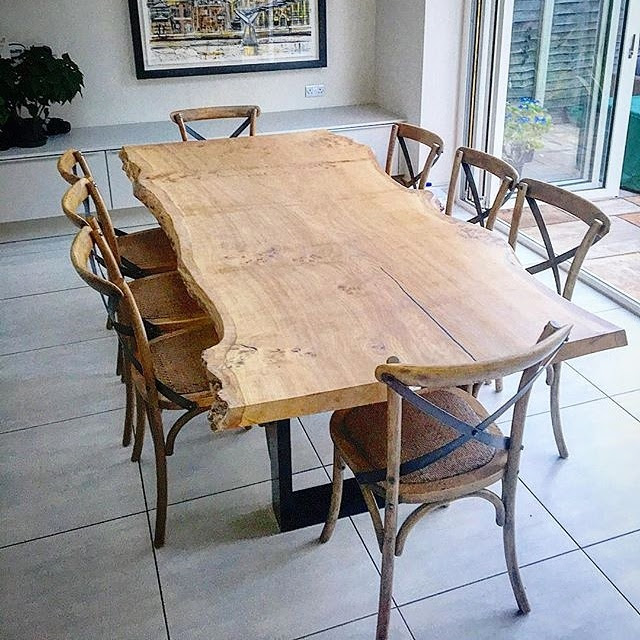 Single slab live-edge Oak dining table, Barnes London